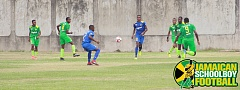 St. Jago vs Denham Town action at Prison Oval